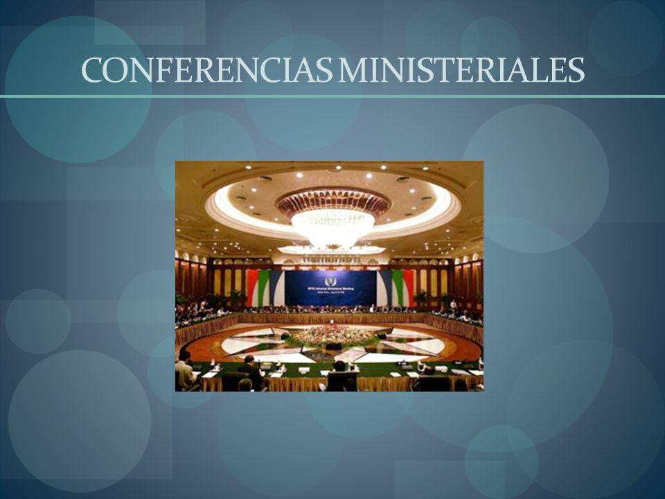 1ª Conferencia Ministerial (Singapur) Los Ministros de Comercio, Relaciones Exteriores, Hacienda y Agricultura de más de 120 gobiernos Miembros de la Organización Mundial del Comercio y de los países en proceso de adhesión a la OMC participaron en una Conferencia Ministerial en Singapur los días 9 a 13 de diciembre de 1996.