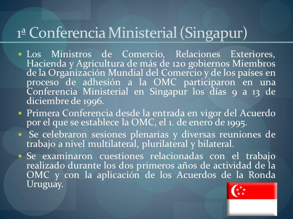 2ª Conferencia Ministerial La segunda Conferencia Ministerial de la OMC se celebró a Ginebra del 18 al 20 de mayo de 1998.