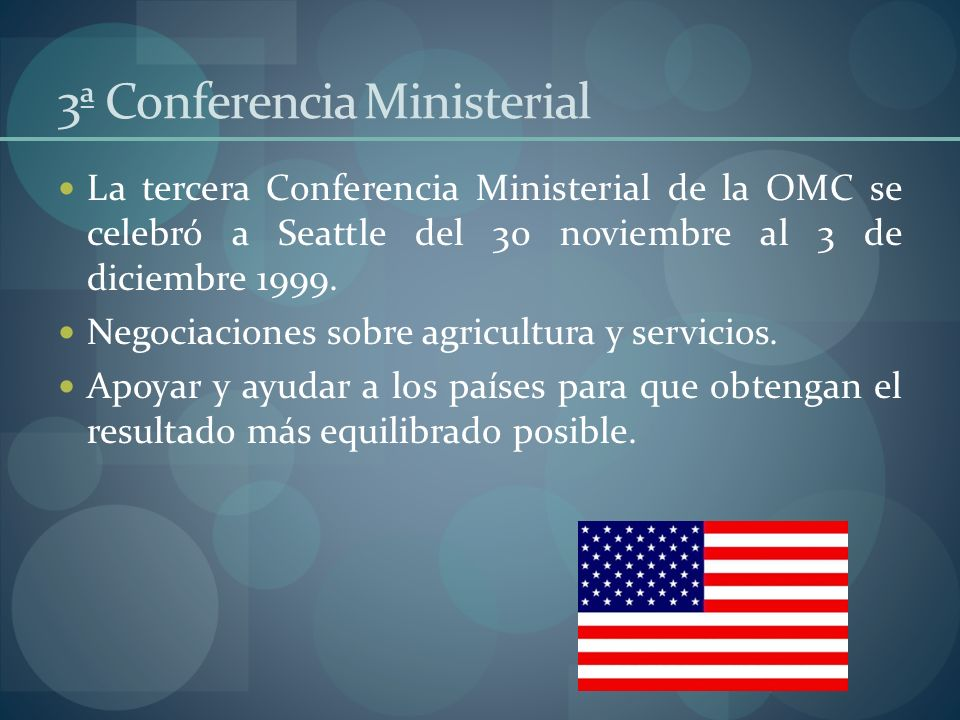 Emilio Cepeda España Conclusiones Conferencias ministeriales Singapur 1996 En esta conferencia, en la cual hubo mayor participación, posterior a la ronda Uruguay, en ésta se vio el resultado de los avances en años posteriores, es la base del programa de Doha.