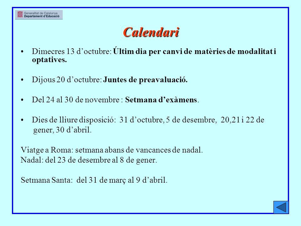 Calendari Dimecres 13 doctubre: Últim dia per canvi de matèries de modalitat i optatives.
