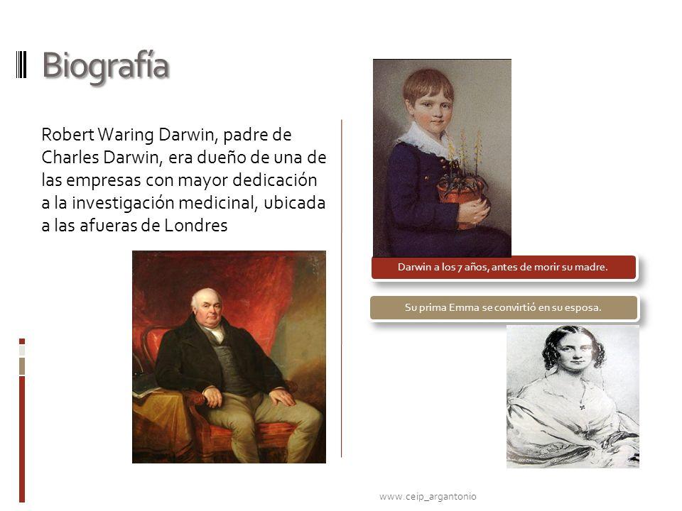 Biografía Robert Waring Darwin, padre de Charles Darwin, era dueño de una de las empresas con mayor dedicación a la investigación medicinal, ubicada a