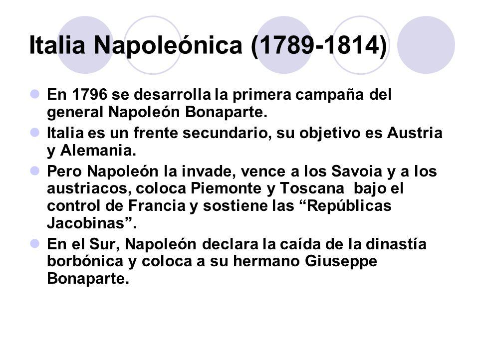 Hacia las guerras de Independencia (1848) Primeras sublevaciones En Italia el único estado que parece evolucionar es el de Saboya.