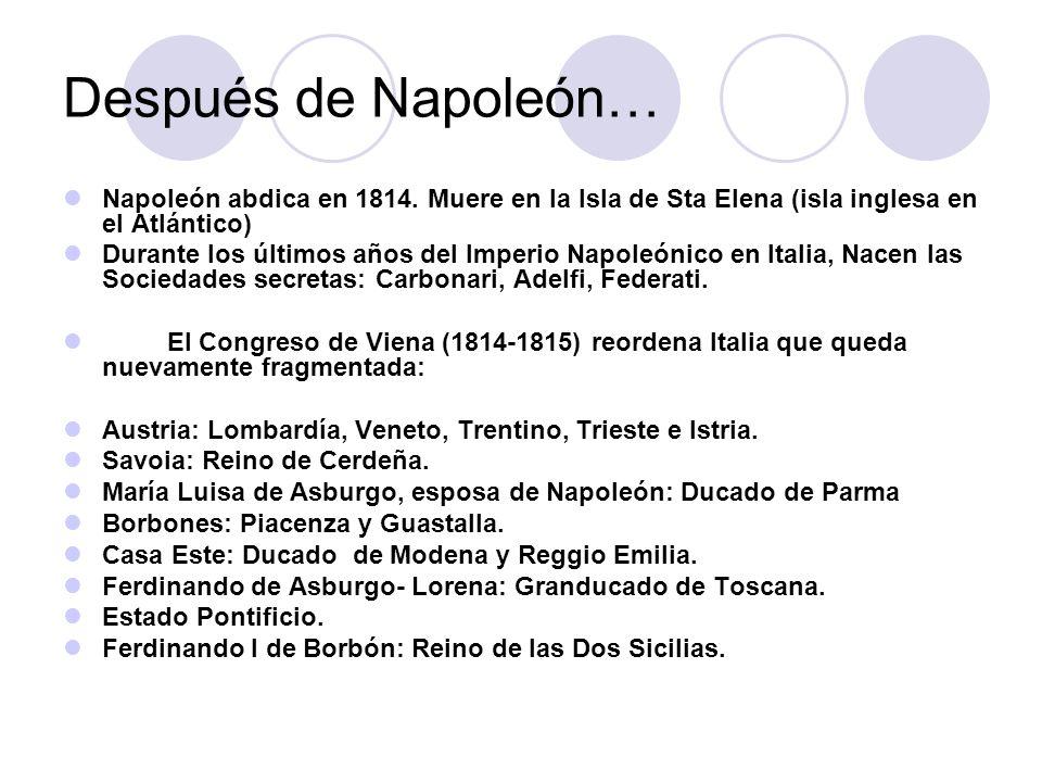 Consecuencias de la política napoleónica para Italia: Prospectiva con relación a una unidad nacional.