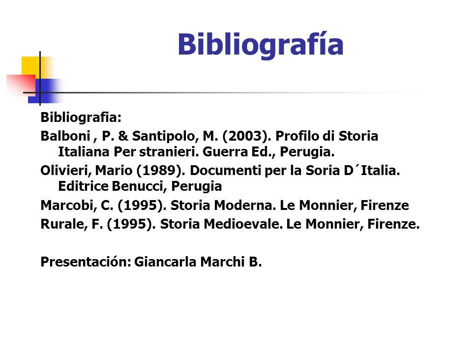 Bibliografía Bibliografia: Balboni, P. & Santipolo, M. (2003). Profilo di Storia Italiana Per stranieri. Guerra Ed., Perugia. Olivieri, Mario (1989).