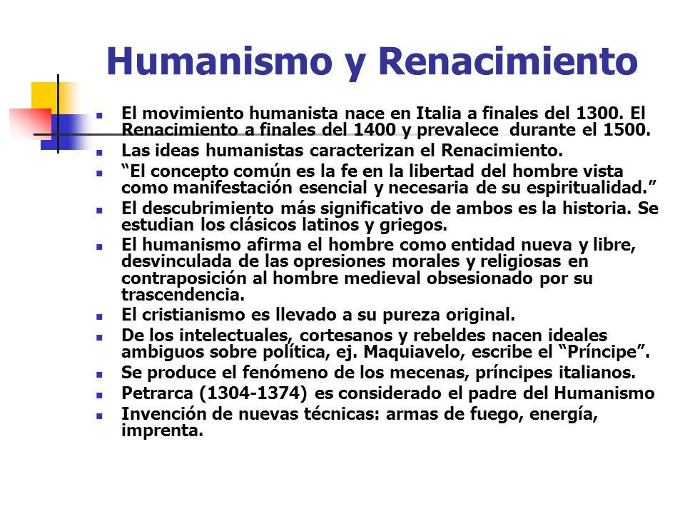 Humanismo y Renacimiento El movimiento humanista nace en Italia a finales del 1300. El Renacimiento a finales del 1400 y prevalece durante el 1500. La