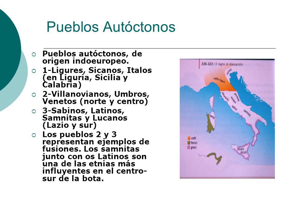 Pueblos Autóctonos Pueblos autóctonos, de origen indoeuropeo. 1-Ligures, Sicanos, Italos (en Liguria, Sicilia y Calabria) 2-Villanovianos, Umbros, Ven