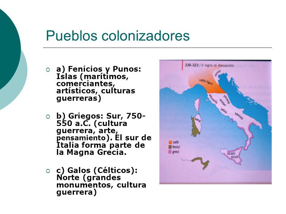 Pueblos colonizadores a) Fenicios y Punos: Islas (marítimos, comerciantes, artísticos, culturas guerreras) b) Griegos: Sur, 750- 550 a.C. (cultura gue