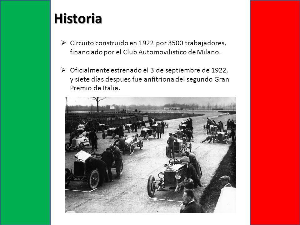 Circuito construido en 1922 por 3500 trabajadores, financiado por el Club Automovilistico de Milano. Oficialmente estrenado el 3 de septiembre de 1922