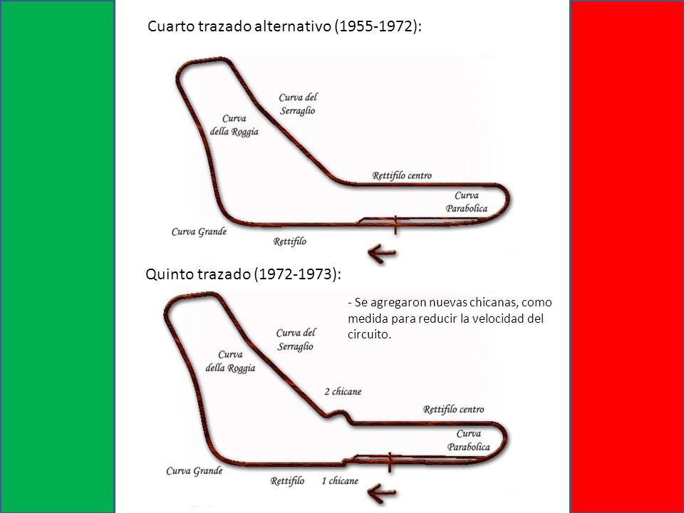 Quinto trazado (1972-1973): Cuarto trazado alternativo (1955-1972): - Se agregaron nuevas chicanas, como medida para reducir la velocidad del circuito