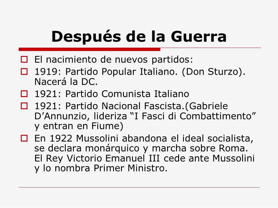 Después de la Guerra El nacimiento de nuevos partidos: 1919: Partido Popular Italiano. (Don Sturzo). Nacerá la DC. 1921: Partido Comunista Italiano 19