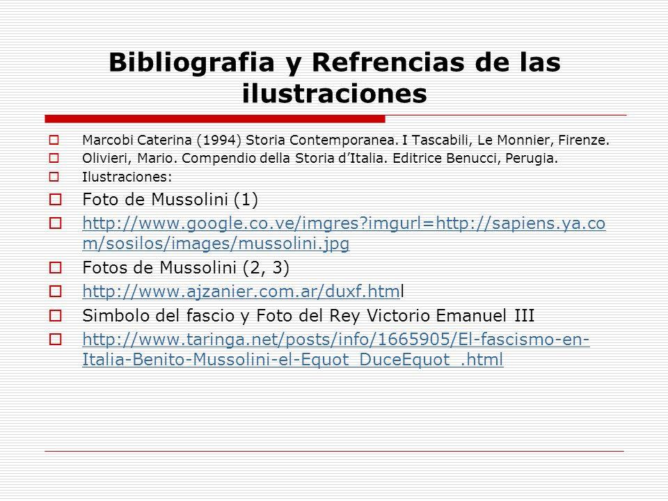 Bibliografia y Refrencias de las ilustraciones Marcobi Caterina (1994) Storia Contemporanea. I Tascabili, Le Monnier, Firenze. Olivieri, Mario. Compen