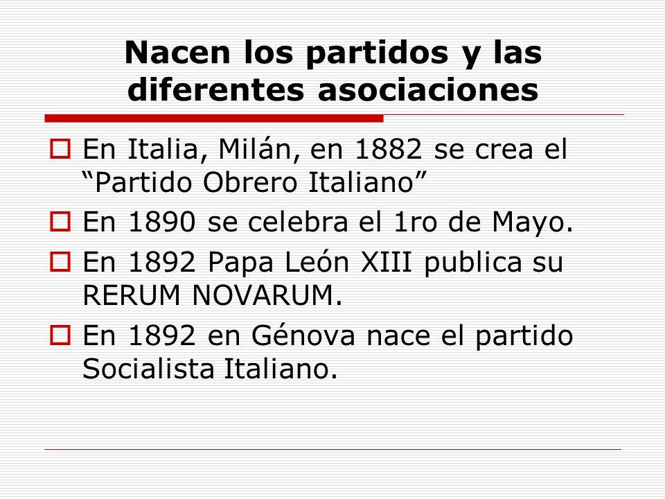 Nacen los partidos y las diferentes asociaciones En Italia, Milán, en 1882 se crea el Partido Obrero Italiano En 1890 se celebra el 1ro de Mayo. En 18