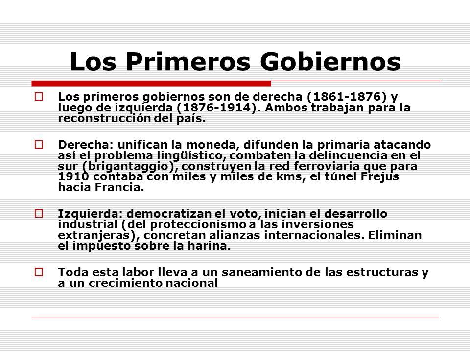 Los Primeros Gobiernos Los primeros gobiernos son de derecha (1861-1876) y luego de izquierda (1876-1914). Ambos trabajan para la reconstrucción del p