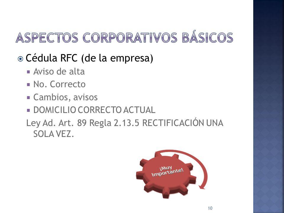 Acta Constitutiva Denominación social actual y, en su caso, cambios protocolizados ante notario Objeto social Domicilio fiscal y, en su caso, cambios