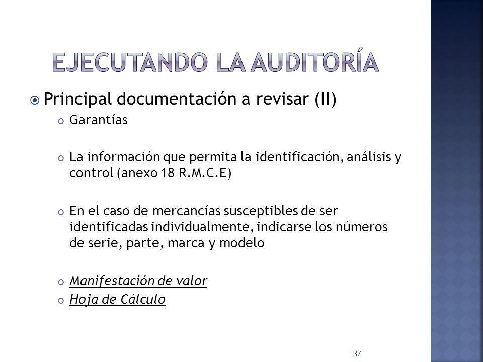 Principal documentación a revisar (I) Arts.36 y 59 Ley Aduanera y RMCE Obtener e integrar: Pedimento Factura comercial Documento de embarque Certificado o certificación de origen Certificados de regulaciones y restricciones no arancelarias Certificado de peso y volumen 36