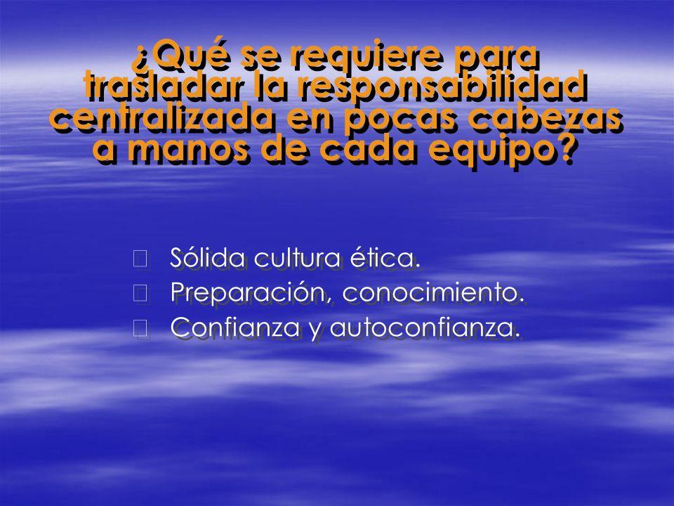 ¿Qué se requiere para trasladar la responsabilidad centralizada en pocas cabezas a manos de cada equipo? Sólida cultura ética. Preparación, conocimi
