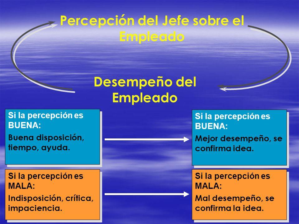 Percepción del Jefe sobre el Empleado Desempeño del Empleado Si la percepción es BUENA: Buena disposición, tiempo, ayuda. Si la percepción es BUENA: B