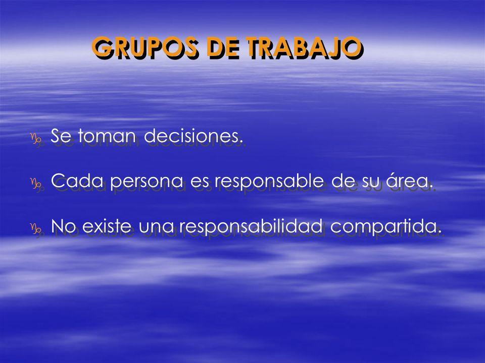 g Se toman decisiones. g Cada persona es responsable de su área. g No existe una responsabilidad compartida. g Se toman decisiones. g Cada persona es
