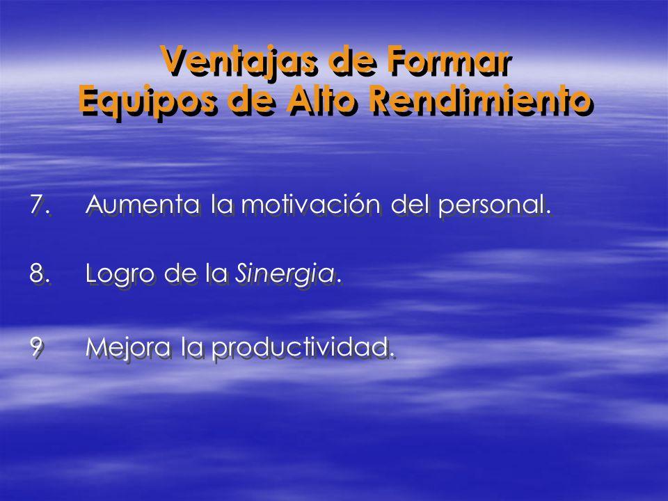 7.Aumenta la motivación del personal. 8.Logro de la Sinergia. 9Mejora la productividad. 7.Aumenta la motivación del personal. 8.Logro de la Sinergia.