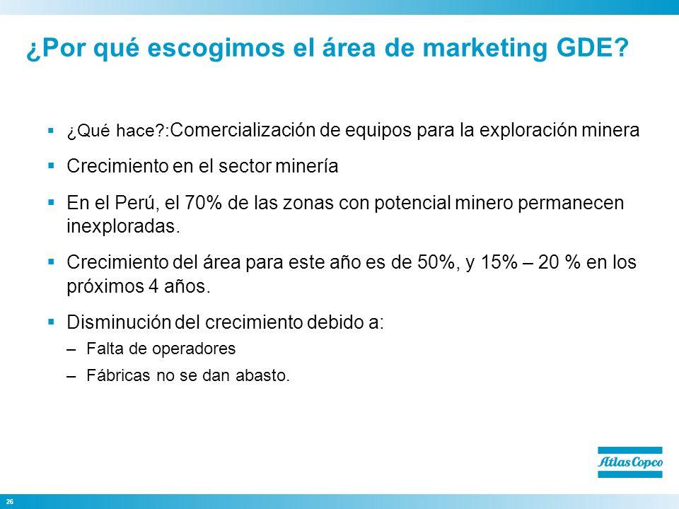 26 ¿Por qué escogimos el área de marketing GDE? ¿Qué hace?: Comercialización de equipos para la exploración minera Crecimiento en el sector minería En