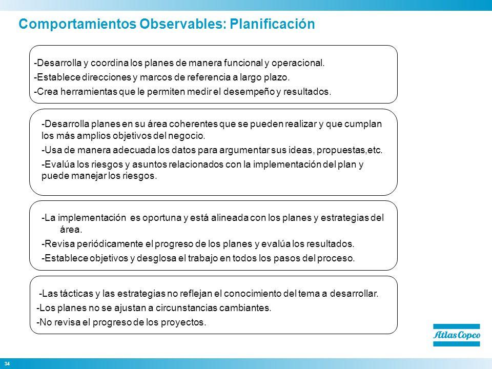 34 -Desarrolla planes en su área coherentes que se pueden realizar y que cumplan los más amplios objetivos del negocio. -Usa de manera adecuada los da