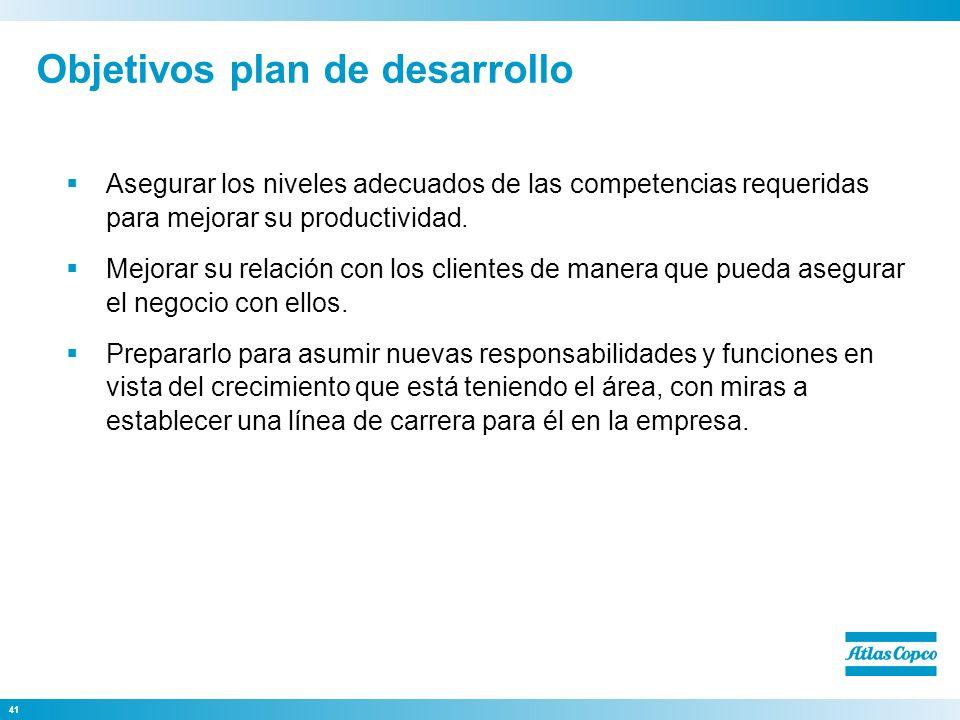 41 Objetivos plan de desarrollo Asegurar los niveles adecuados de las competencias requeridas para mejorar su productividad. Mejorar su relación con l
