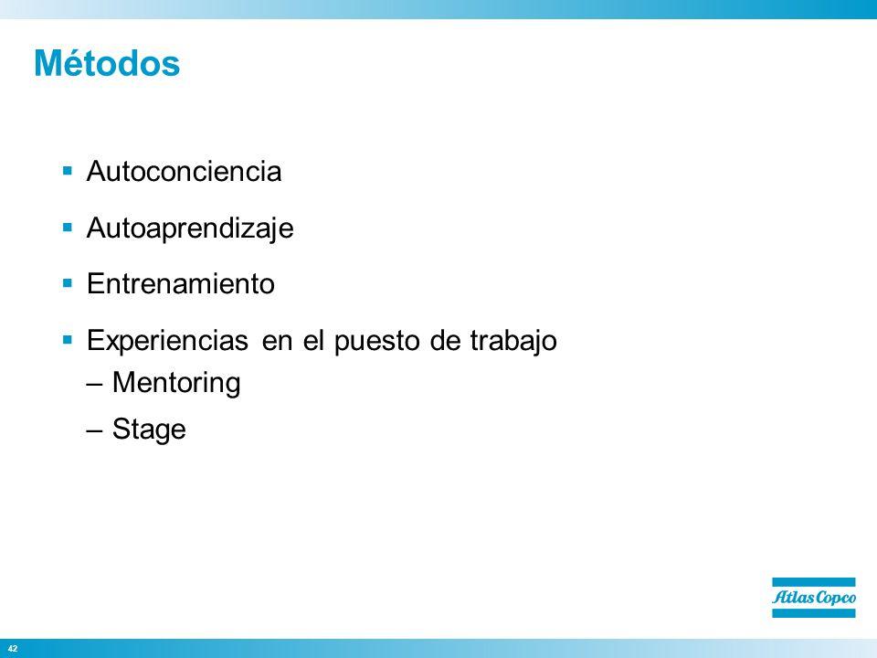 42 Métodos Autoconciencia Autoaprendizaje Entrenamiento Experiencias en el puesto de trabajo –Mentoring –Stage