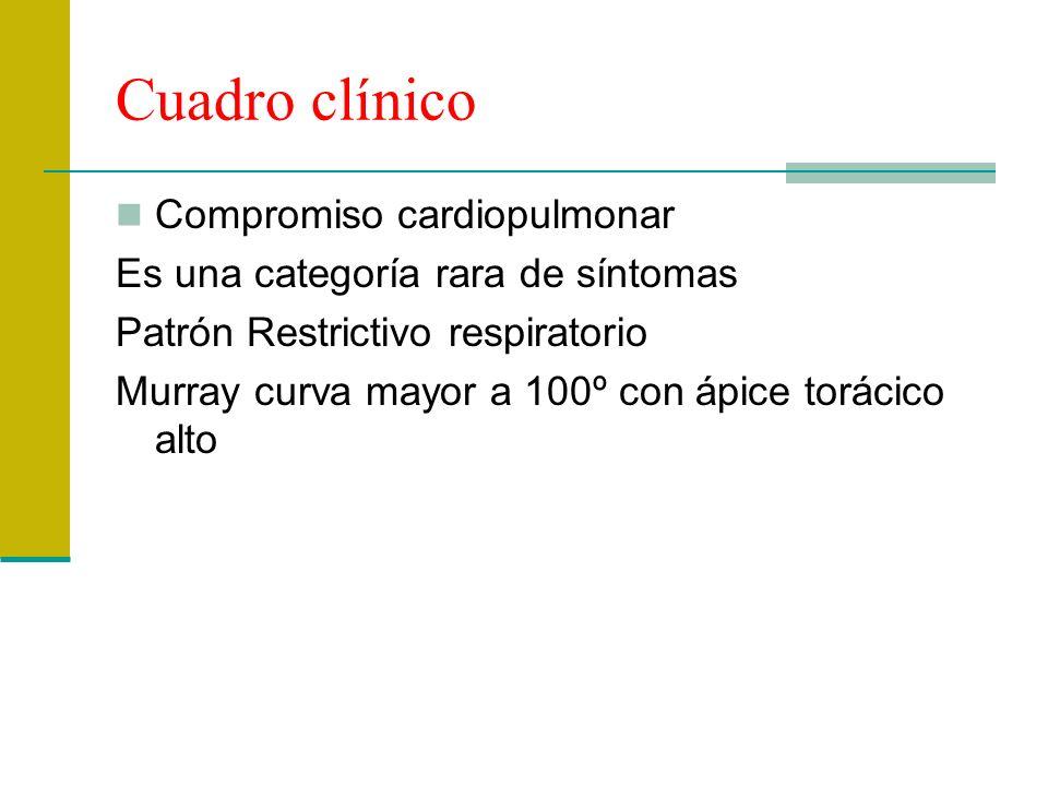 Cuadro clínico Compromiso cardiopulmonar Es una categoría rara de síntomas Patrón Restrictivo respiratorio Murray curva mayor a 100º con ápice torácic