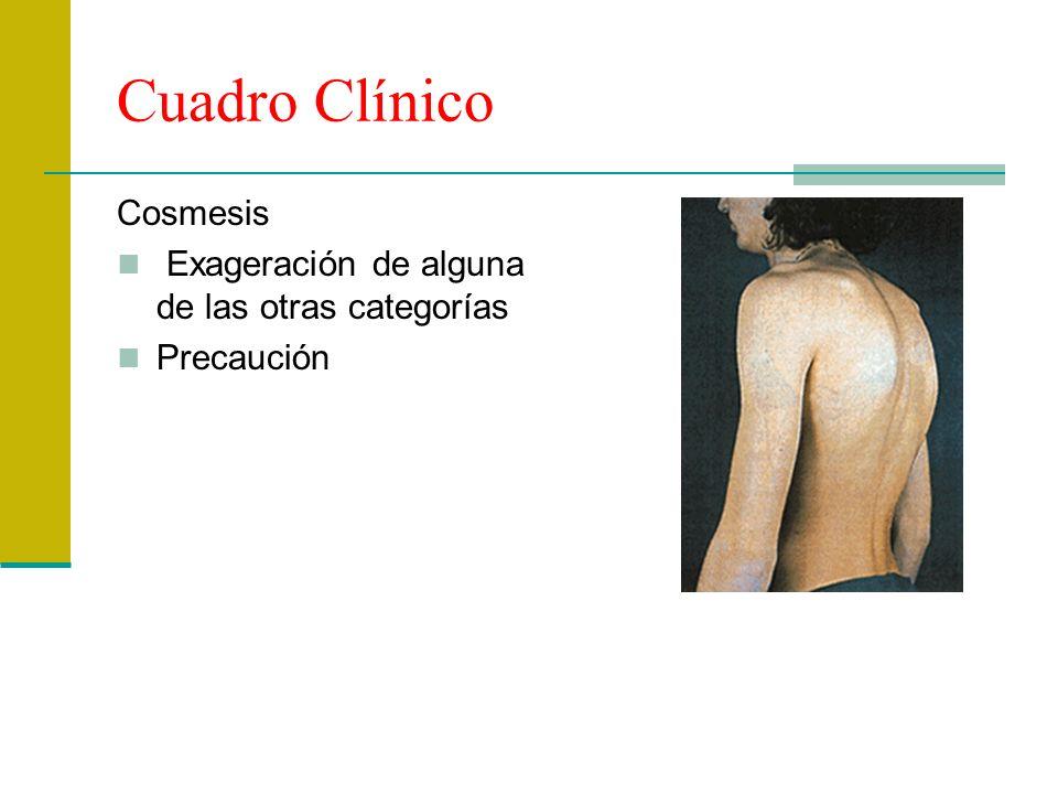 Cuadro Clínico Cosmesis Exageración de alguna de las otras categorías Precaución