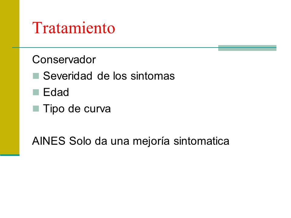 Tratamiento Conservador Severidad de los sintomas Edad Tipo de curva AINES Solo da una mejoría sintomatica