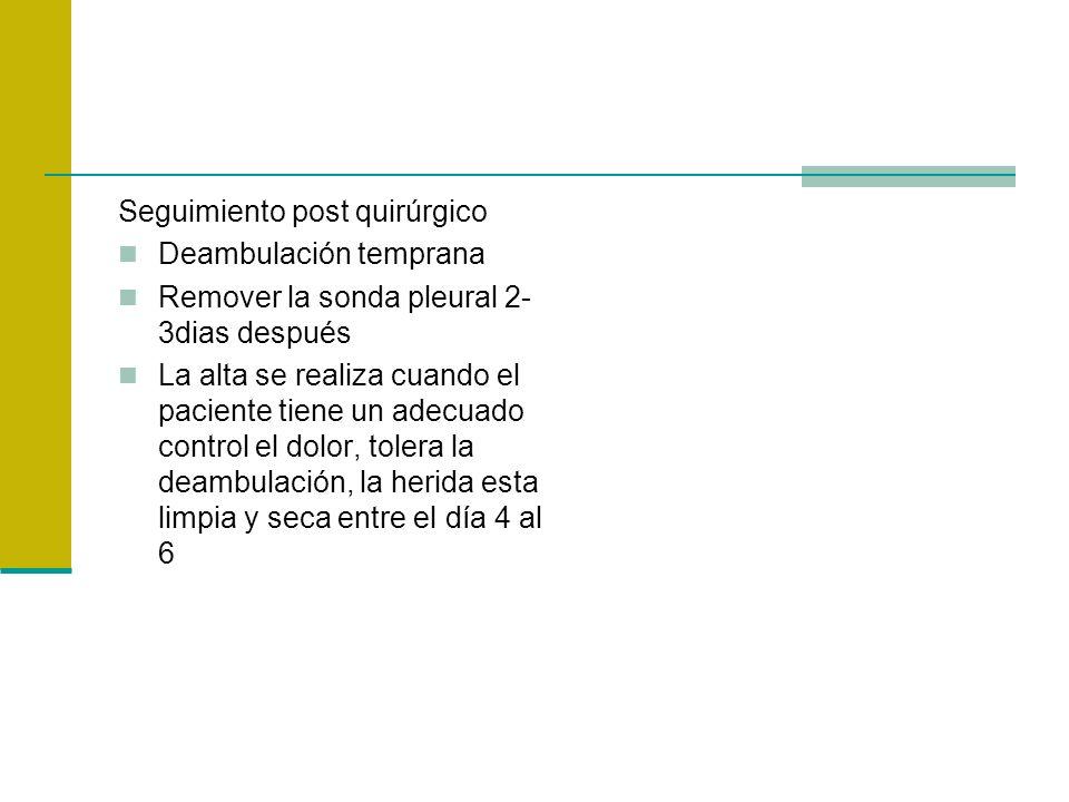 Seguimiento post quirúrgico Deambulación temprana Remover la sonda pleural 2- 3dias después La alta se realiza cuando el paciente tiene un adecuado co