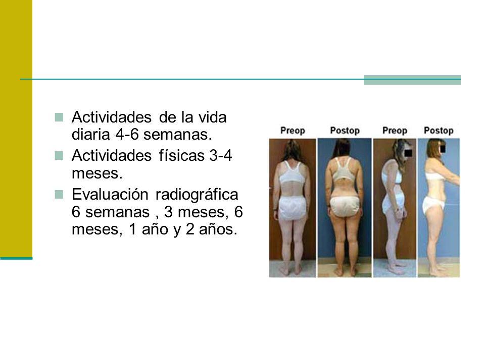 Actividades de la vida diaria 4-6 semanas. Actividades físicas 3-4 meses. Evaluación radiográfica 6 semanas, 3 meses, 6 meses, 1 año y 2 años.