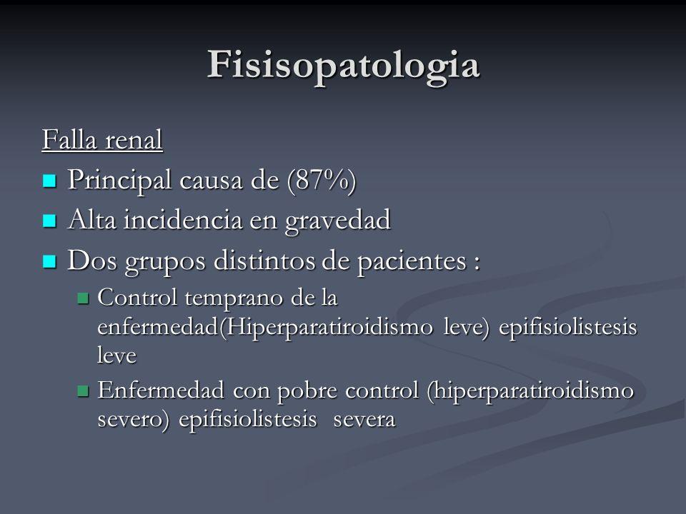 Fisisopatologia Falla renal Principal causa de (87%) Principal causa de (87%) Alta incidencia en gravedad Alta incidencia en gravedad Dos grupos disti