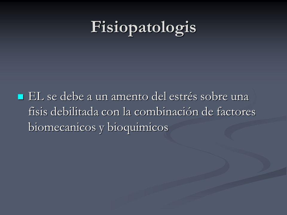 Fisiopatologis EL se debe a un amento del estrés sobre una fisis debilitada con la combinación de factores biomecanicos y bioquimicos EL se debe a un
