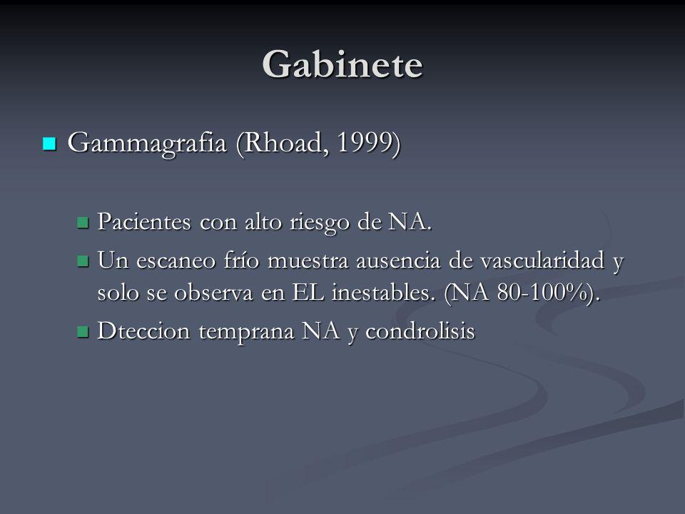 Gabinete Gammagrafia (Rhoad, 1999) Gammagrafia (Rhoad, 1999) Pacientes con alto riesgo de NA. Pacientes con alto riesgo de NA. Un escaneo frío muestra