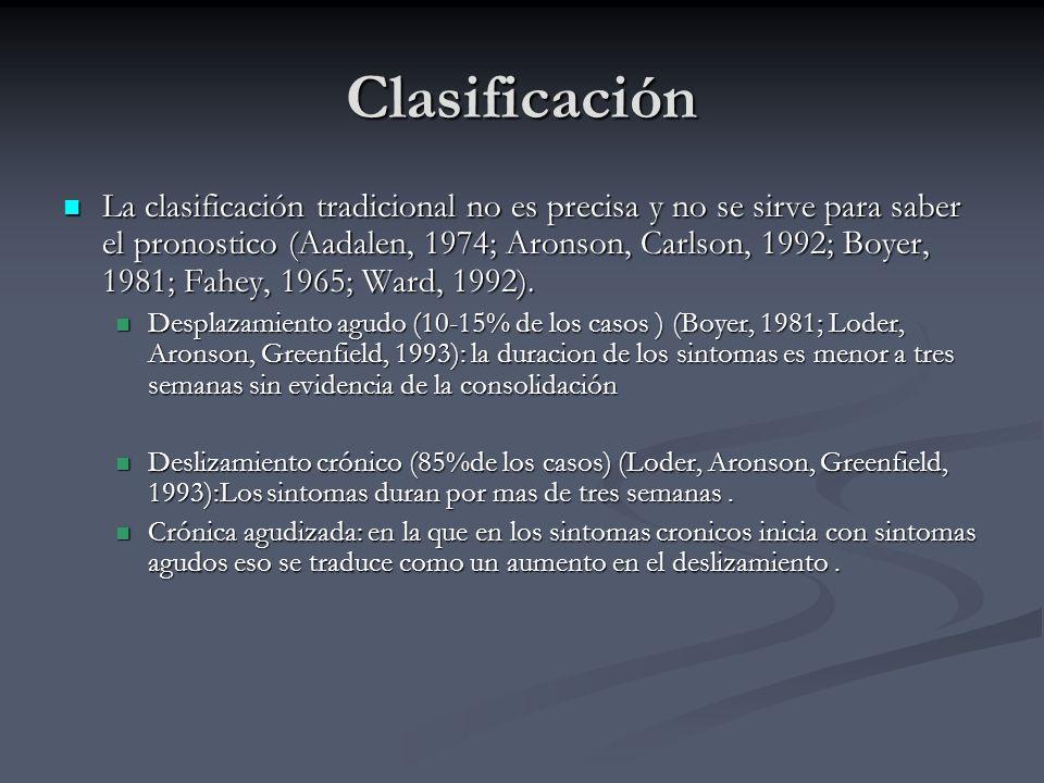 Clasificación La clasificación tradicional no es precisa y no se sirve para saber el pronostico (Aadalen, 1974; Aronson, Carlson, 1992; Boyer, 1981; F