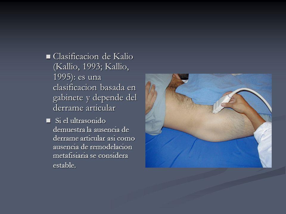 Clasificacion de Kalio (Kallio, 1993; Kallio, 1995): es una clasificacion basada en gabinete y depende del derrame articular Clasificacion de Kalio (K