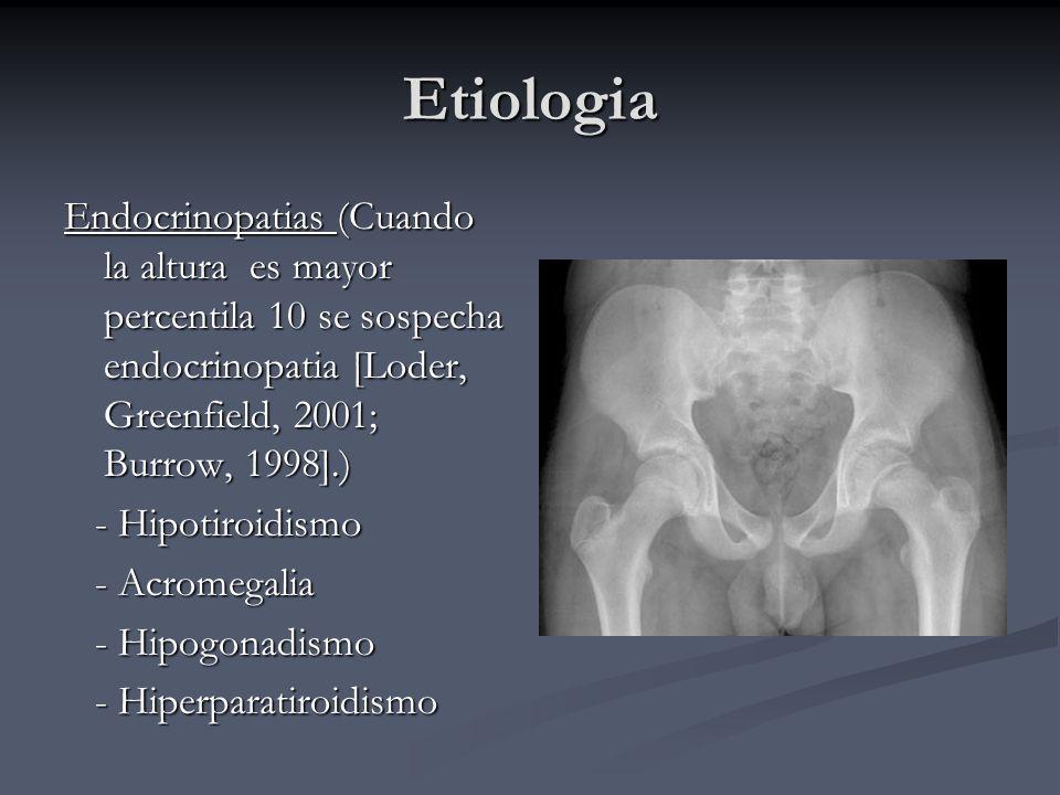 Etiologia Endocrinopatias (Cuando la altura es mayor percentila 10 se sospecha endocrinopatia [Loder, Greenfield, 2001; Burrow, 1998].) - Hipotiroidis
