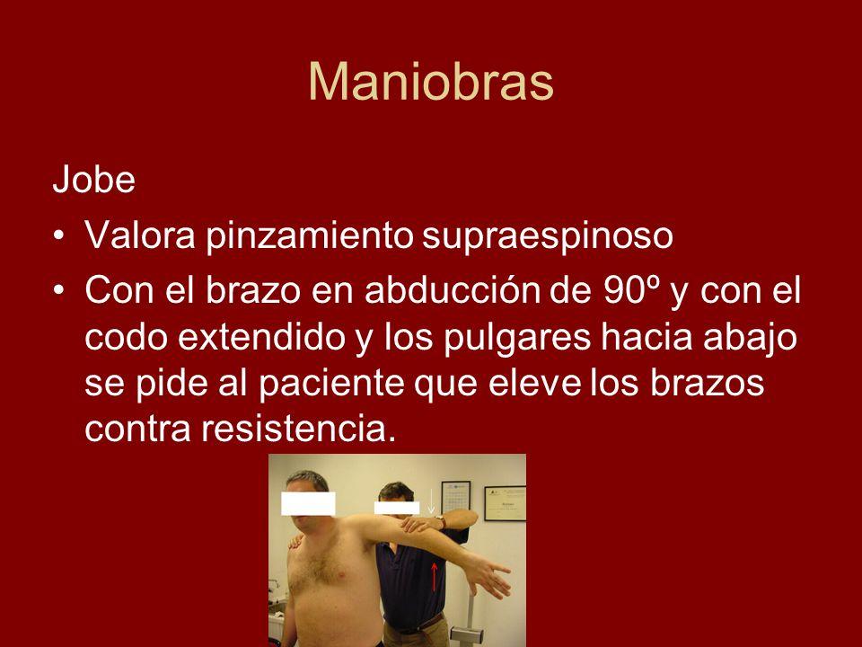 Maniobras Jobe Valora pinzamiento supraespinoso Con el brazo en abducción de 90º y con el codo extendido y los pulgares hacia abajo se pide al pacient