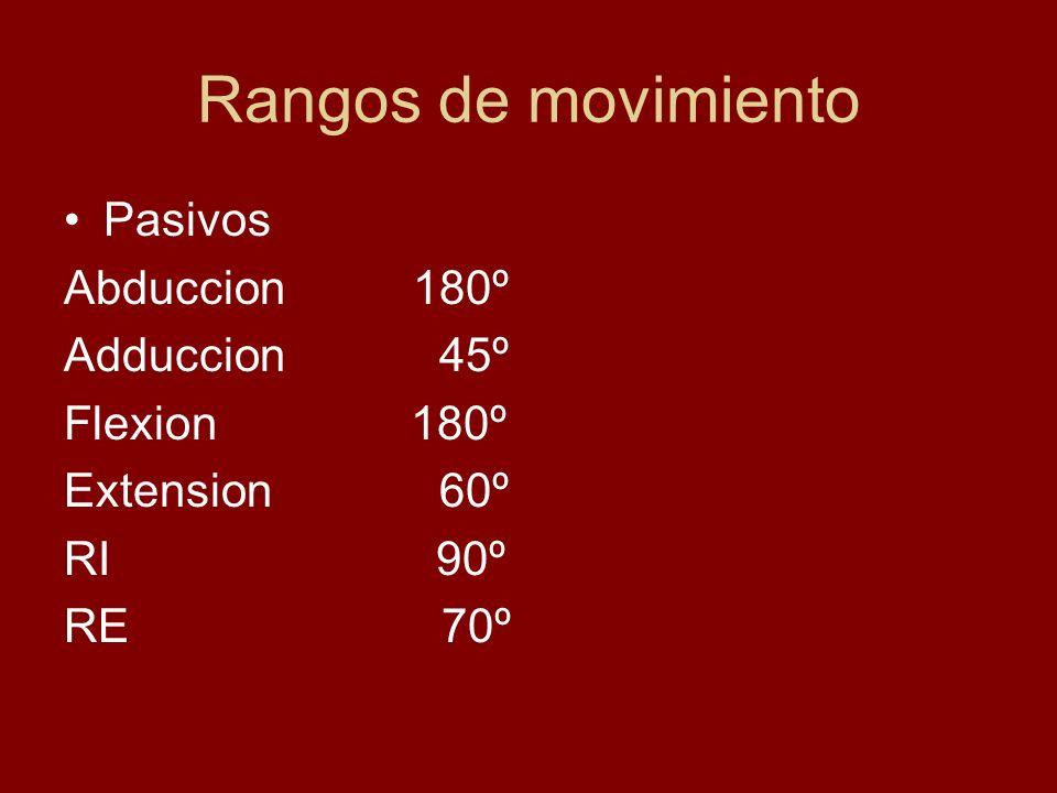 Rangos de movimiento Pasivos Abduccion 180º Adduccion 45º Flexion 180º Extension 60º RI 90º RE 70º