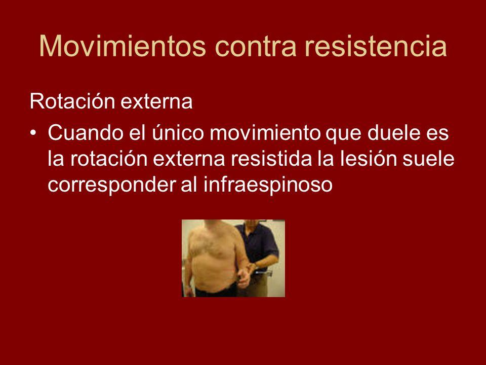 Movimientos contra resistencia Rotación externa Cuando el único movimiento que duele es la rotación externa resistida la lesión suele corresponder al