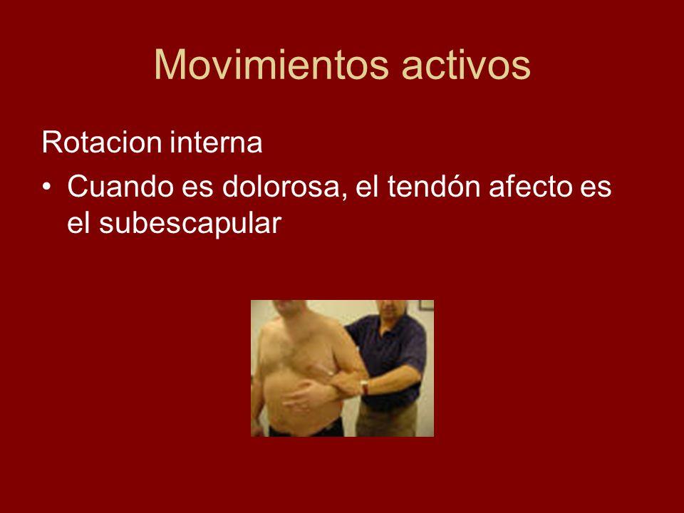 Movimientos con resistencia Abducción resistida El dolor en esta maniobra suele indicar afección del supraespinoso.