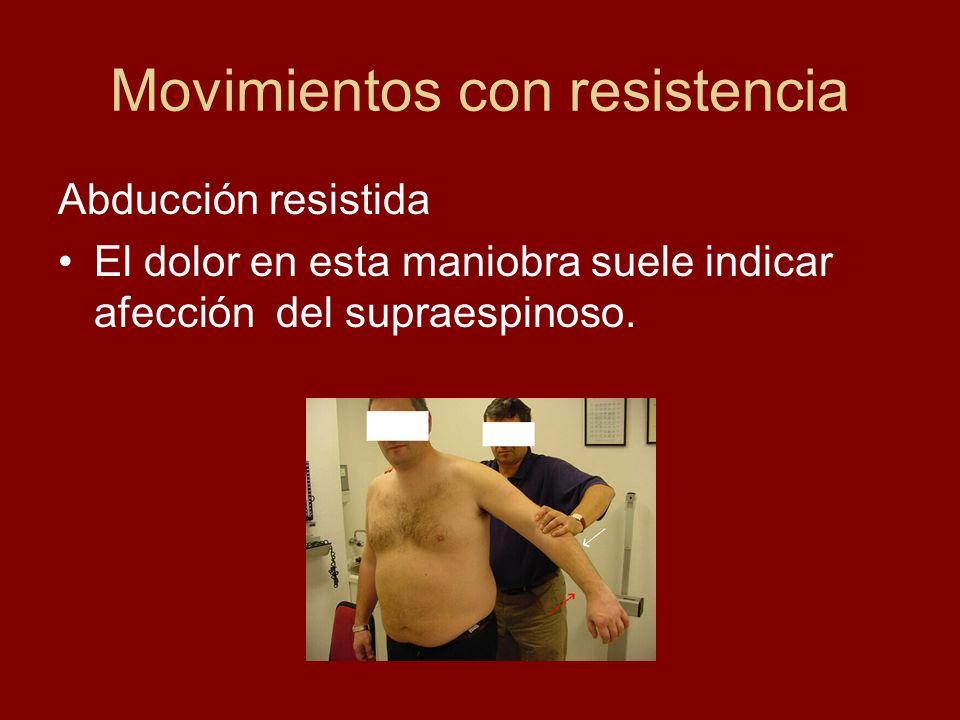 Movimientos con resistencia Flexión resistida Cuando es dolorosa nos indica que el tendón afectado es el bicipital.