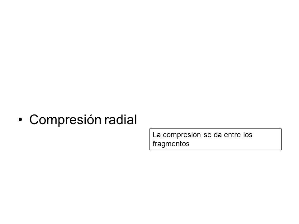 Compresión radial La compresión se da entre los fragmentos