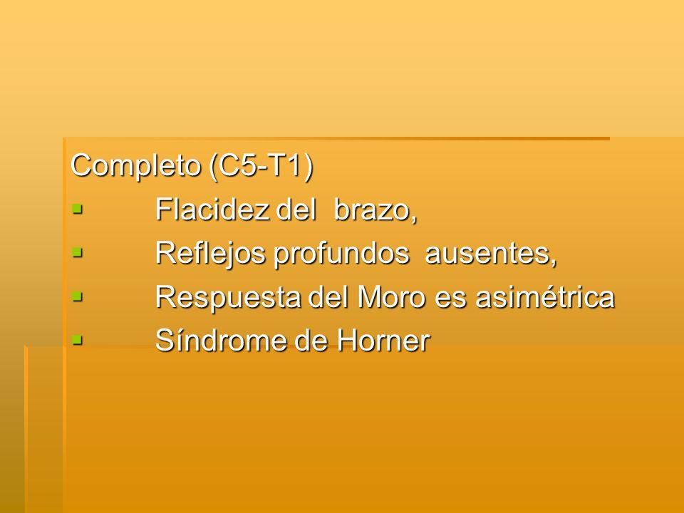 Completo (C5-T1) Flacidez del brazo, Flacidez del brazo, Reflejos profundos ausentes, Reflejos profundos ausentes, Respuesta del Moro es asimétrica Respuesta del Moro es asimétrica Síndrome de Horner Síndrome de Horner