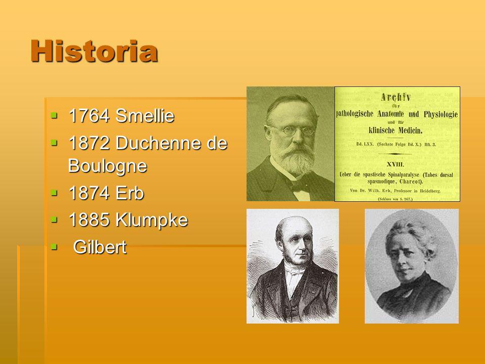 Historia 1764 Smellie 1764 Smellie 1872 Duchenne de Boulogne 1872 Duchenne de Boulogne 1874 Erb 1874 Erb 1885 Klumpke 1885 Klumpke Gilbert Gilbert