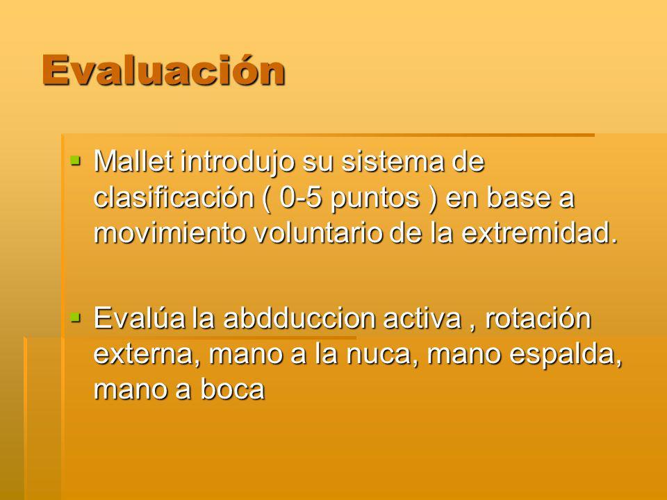 Evaluación Mallet introdujo su sistema de clasificación ( 0-5 puntos ) en base a movimiento voluntario de la extremidad.