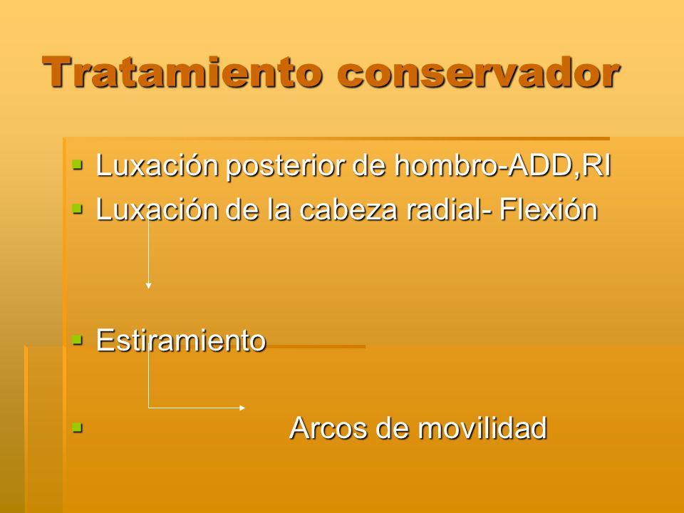 Tratamiento conservador Luxación posterior de hombro-ADD,RI Luxación posterior de hombro-ADD,RI Luxación de la cabeza radial- Flexión Luxación de la cabeza radial- Flexión Estiramiento Estiramiento Arcos de movilidad Arcos de movilidad