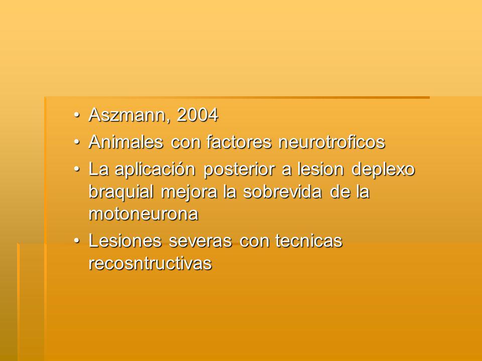 Aszmann, 2004Aszmann, 2004 Animales con factores neurotroficosAnimales con factores neurotroficos La aplicación posterior a lesion deplexo braquial mejora la sobrevida de la motoneuronaLa aplicación posterior a lesion deplexo braquial mejora la sobrevida de la motoneurona Lesiones severas con tecnicas recosntructivasLesiones severas con tecnicas recosntructivas