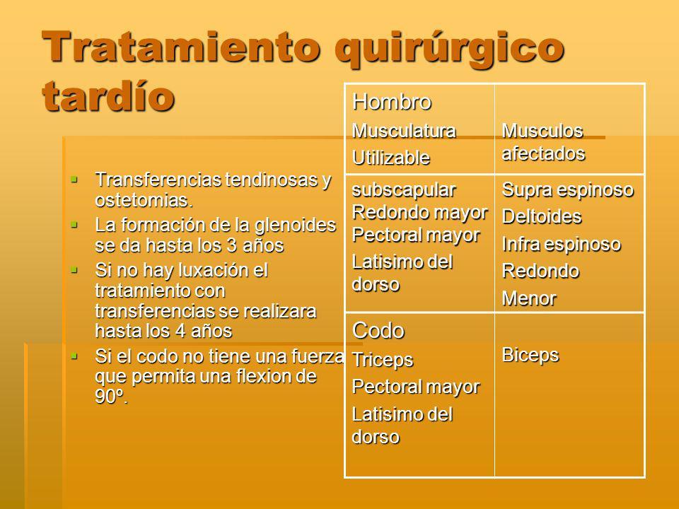 Tratamiento quirúrgico tardío Transferencias tendinosas y ostetomias.